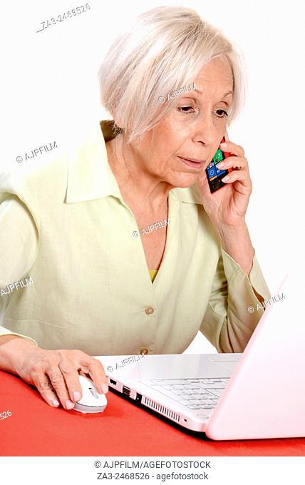 Elderly business woman using a laptop computer