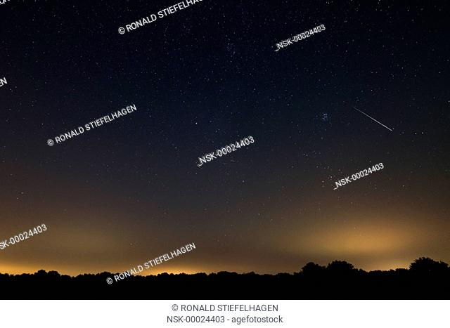 A Perseid meteor coming down as a shooting star, The Netherlands, Drenthe, Balloerveld