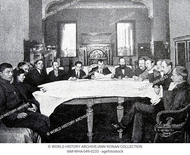 A revolutionary tribunal meeting of soldiers, workers and soviet representatives, after the revolution of 1917