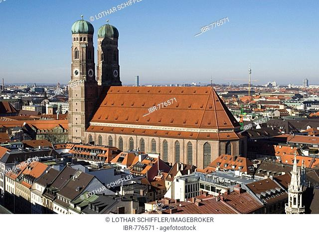 View of the Frauenkirche Church from the Alter Peter Church in Munich, Bavaria, Germany