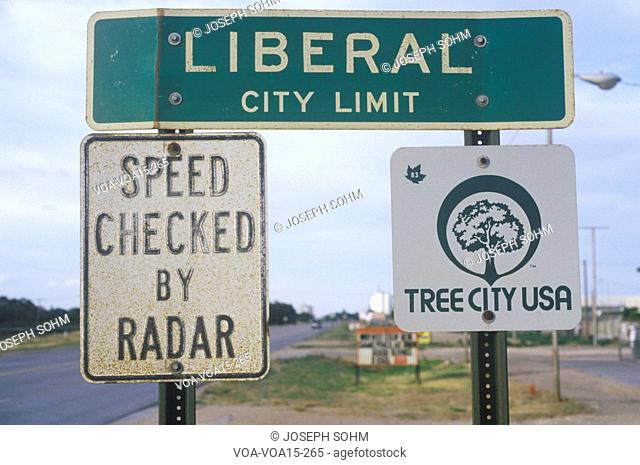 "A sign that reads ""Liberal City Limit"""