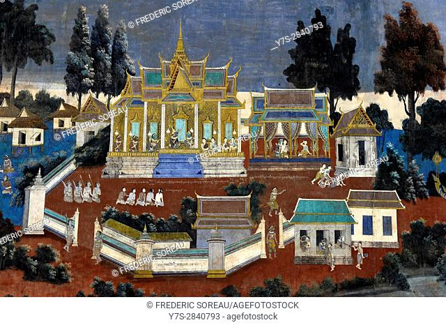 Ruined frescoes and paintings on wall, Royal Palace Complex, Phnom Penh, Cambodia, Indochina, Southeast Asia, Asia