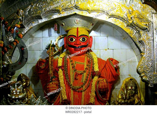 Statue of lord khandoba in the Jejuri temple , pune , Maharashtra , India
