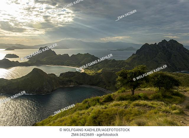 View from a hill on Padar Island located between Komodo and Rinca islands within Komodo archipelago, part of Komodo National Park (UNESCO World Heritage Site)