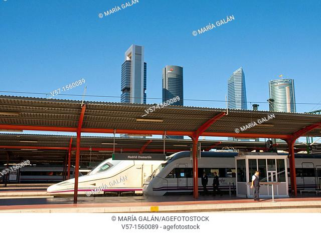 Chamartin Railway Station and Four Towers. Madrid, Spain