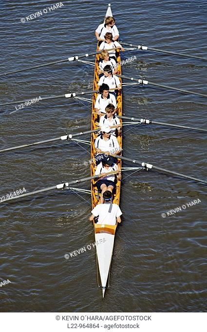 Rowing on the Yarra river, Melbourne, Victoria, Australia