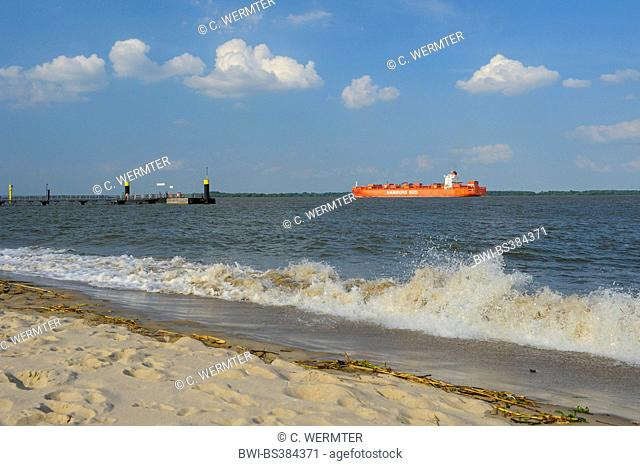 view from river Isle Krautsand to transport ship on river Elbe, Germany, Lower Saxony, Krautsand