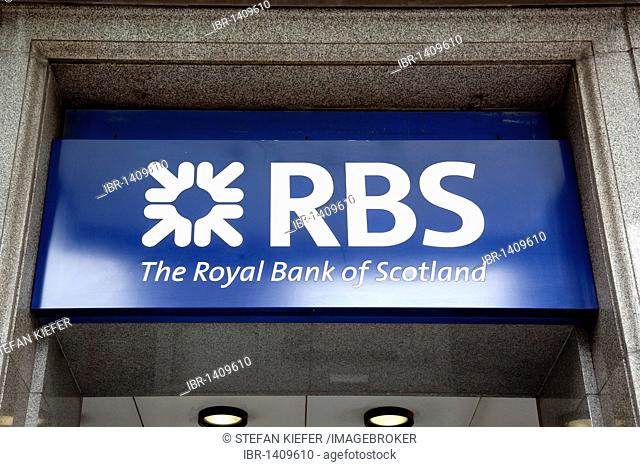Logo of the RBS, Royal Bank of Scotland in London, England, United Kingdom, Europe