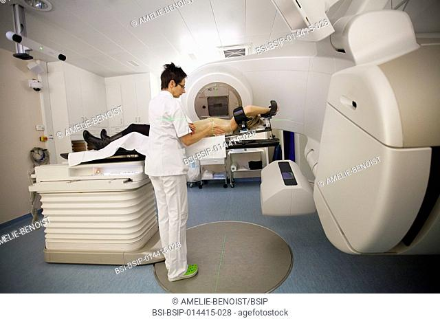 Reportage in a radiation oncology service in Switzerland. The service is equipped with the latest linear accelerator, the Truebeam