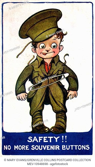 WW1 - A slightly daft-looking young Soldier has to resort to a large safety pin, as he has given away all the 'souvenir' buttons from his uniform to family and...