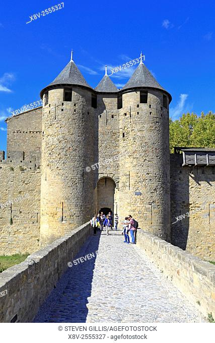 Bridge leading to the Comtal Chateau the medieval castle at Carcassonne, Aude, Languedoc, Roussillon, France, a UNESCO world heritage site