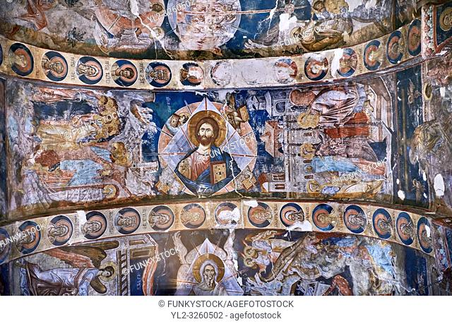 Pictures & images of the interior frescoes on the barrel vaulted roof of of Ubisa St. George Georgian Orthodox medieval monastery, Georgia (country)
