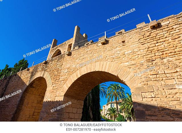 Alcudia Old Town fortress wall in Majorca Mallorca Balearic island of Spain