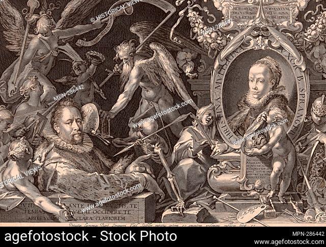 Author: Aegidius Sadeler, II. Portrait of Bartolomaeus Spranger with an Allegory of the Death of His Wife, Christina Mller - 1600 - Aegidius Sadeler Flemish, c