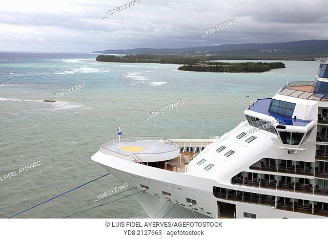Cruise ship docked in the port of Falmouth, Jamaica