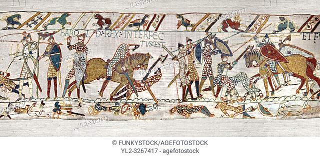 11th Century Medieval Bayeux Tapestry - Scene 57 - Harold dies after being shot in the eye with an arrow. Scene 58 - Williams army routes the saxom army