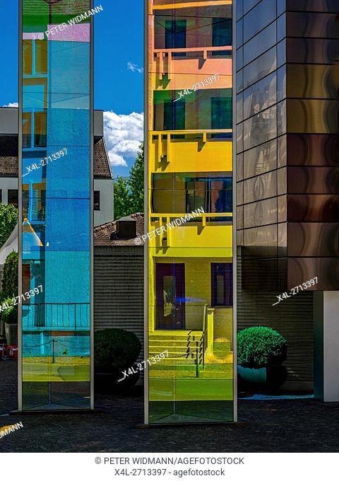 Modern architecture, reflective glass facade of a office building in Vaduz, Liechtenstein, Europe