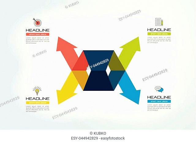 Arrow concept. 4 arrows divided. Template, scheme, diagram, chart, graph, presentation. Business concept with 2 steps, options, processes