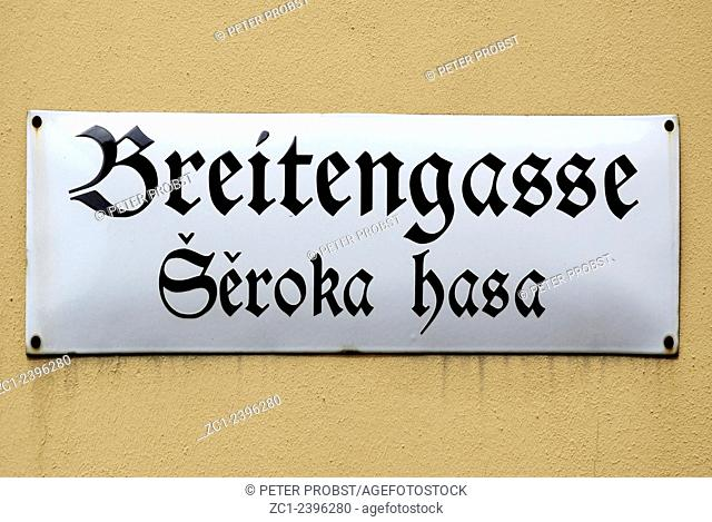 Bilingual road sign in German and Sorbian language.am Main market of Bautzen in the Upper Lusatia in Saxony - Caution: For the editorial use only