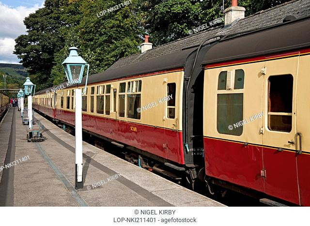 England, North Yorkshire, Grosmont. Railway carriages at Grosmont Station