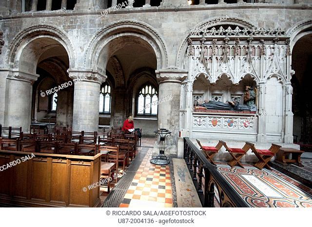 England, London, West Smithfield, Sant Bartholomew The Great, Church, Gravestone of the Founder