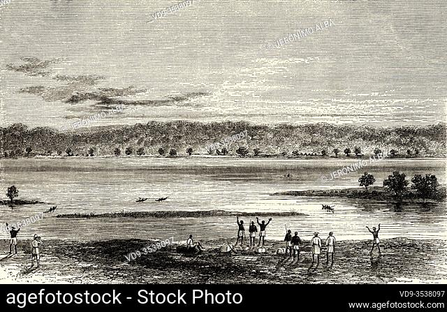 Panoramic landscape view of Lualaba river in Democratic Republic of the Congo, Central Africa. Journey across Africa, from Zanzibar to Benguela by Verney Lovett...