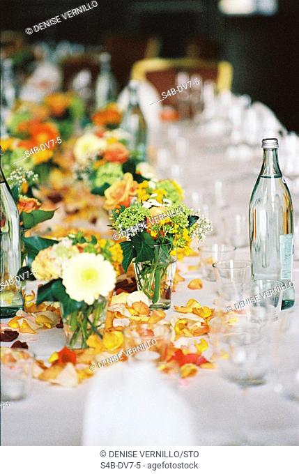 Laid table with flower decorations, Munich, Bavaria, Germany