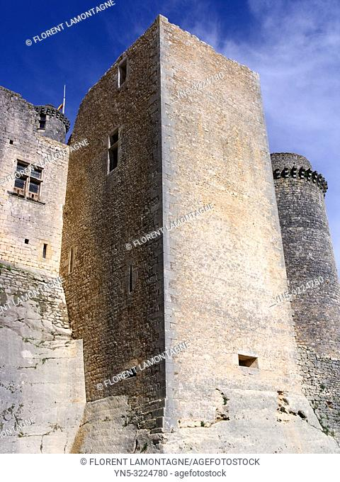 tour, rempart, ciel bleu, douves, france, lot-et-garonne, chateau de bonaguil médiéval