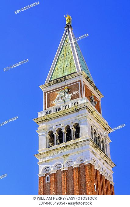 Campanile Bell Tower Piazza San Marco Saint Mark's Square Venice Italy. First erected in 1173. Galileo showed his telescope to Venetian ruler