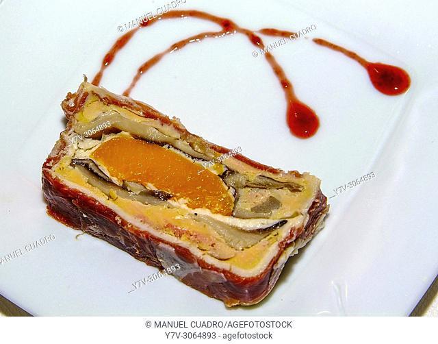 Plato de Milhojas de foie (Mille-feuille with foie). Restaurante Arandia de Julen. Bilbao, Biscay, Basque Country, Spain