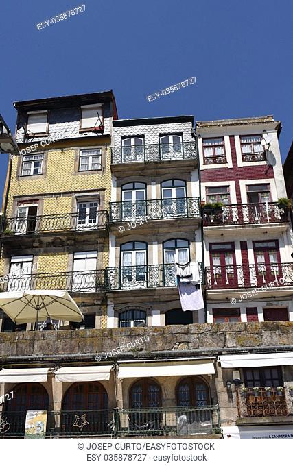 colorful houses Cais da Ribiera, Porto, Portugal