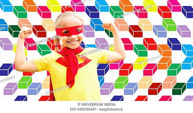 Superhero girl with colorful geometric pattern