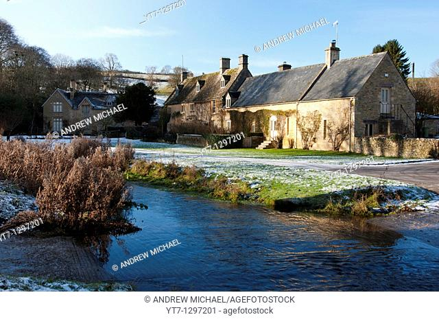 A ford across the river Eye in the picturesque Cotswold village of Upper Slaughter, Gloucestershire, England
