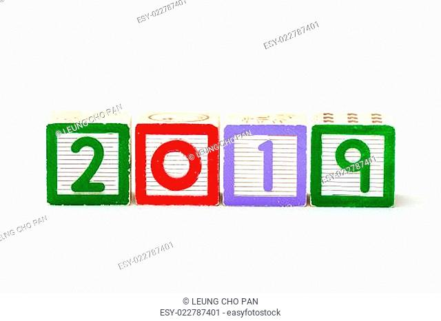 Wooden block for year 2019