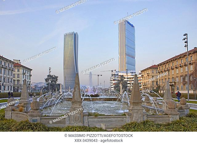 The moder architecture of Citylife district, from Giulio Cesare square, in Milan, Italy