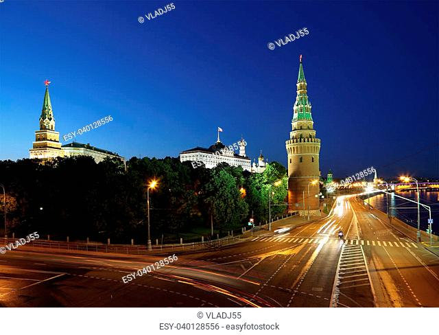 Night view of the Kremlin, Russia, Moscow