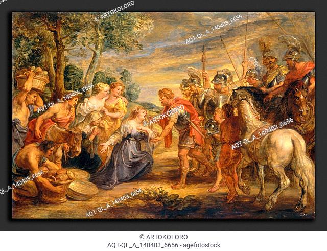 Sir Peter Paul Rubens, The Meeting of David and Abigail, Flemish, 1577 - 1640, c. 1630, oil on panel
