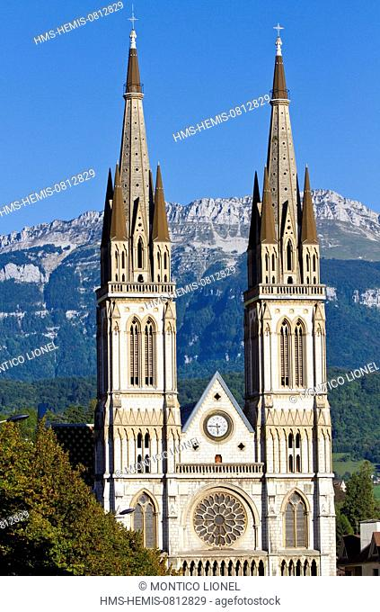 France, Isere, Voiron, the Church of St. Bruno of the 19th century in the heart of the city
