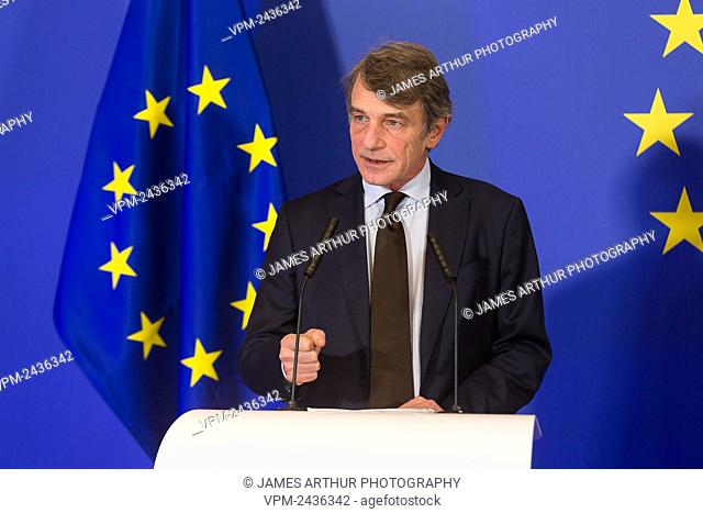 David Sassoli pictured during a celebration on the occasion of the 10th anniversary of the Lisbon Treaty at the European headquarters in Brussels