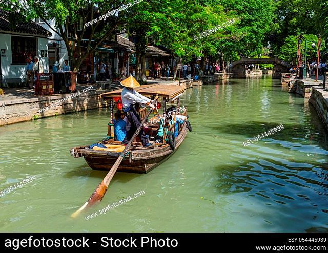 Shanghai, China - May 23, 2018: Boat cruise on the canal in Zhujiajiao water town