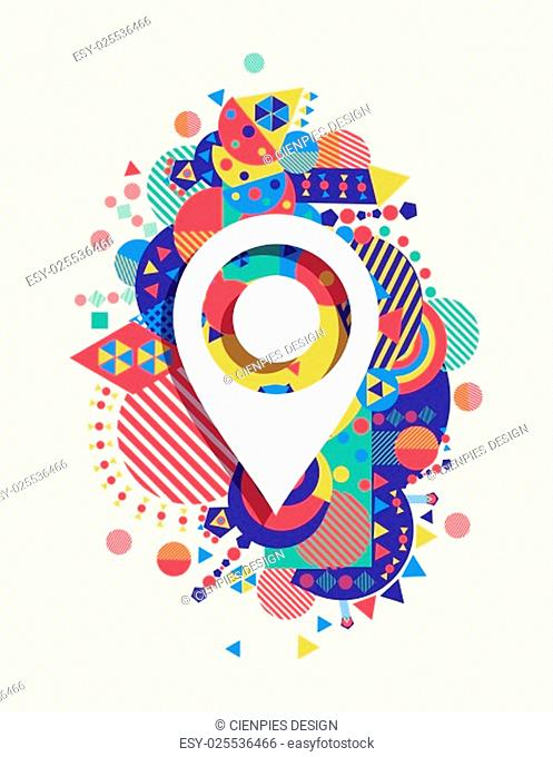 Gps pointer map icon poster design with colorful vibrant geometry shapes background. Social media concept. EPS10 vector