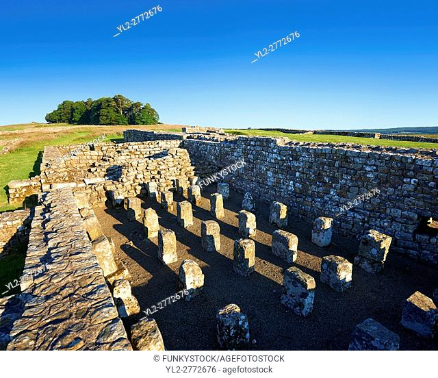 The remains of the grain stores showing underground heating piers, Houseteads Roman Fort, Veronicum, Hadrians Wall, A UNESCO World Heritage Site, Northumberland