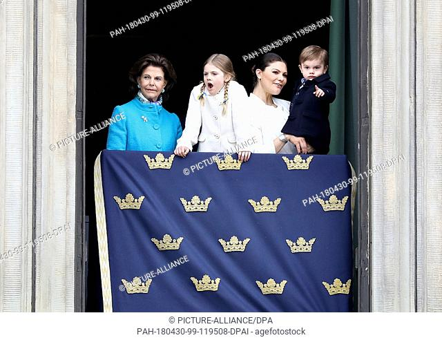 Queen Sylvia, Crown Princess Victoria, Prince Daniel, Princess Estelle and Prince Oscar of Sweden at the Royal Palace in Stockholm, on April 30, 2018