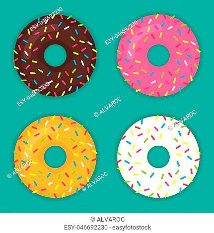 Donuts set vector icon modern flat illustration