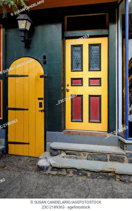Colorful doors at the quaint small town of Lambertville, New Jersey. Despite their age the doors have been restored and maintained to it's original 18th and...