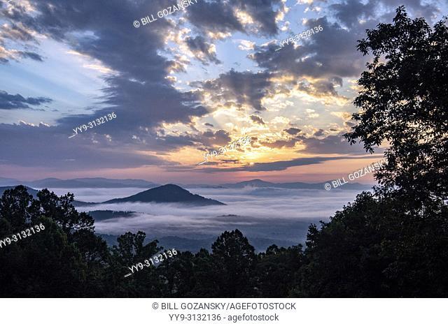 Sunrise vista on the Blue Ridge Parkway near Chestnut Cove Overlook - Asheville, North Carolina, USA
