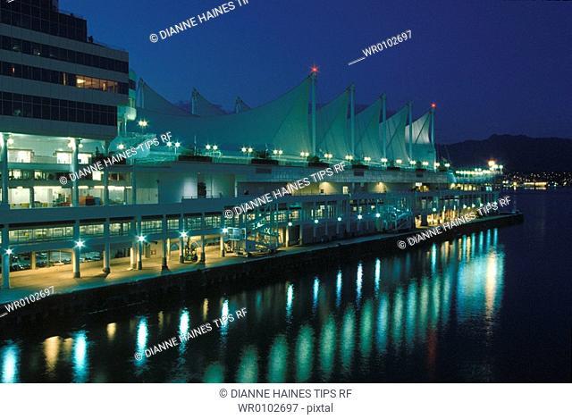 Canada, Vancouver, cruise ship terminal at night
