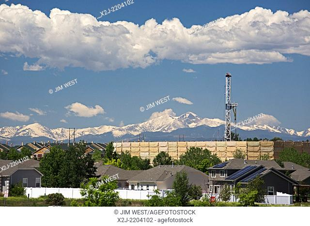 Greeley, Colorado - An oil drilling rig near homes in a residential neighborhood