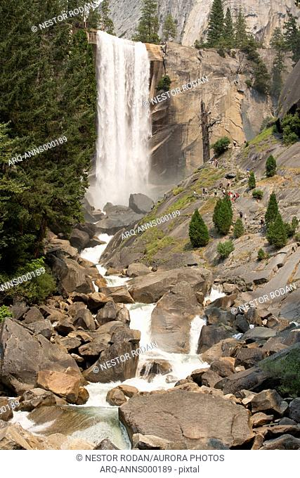 Majestic view of waterfall, Nevada Fall, Yosemite National Park, California, USA