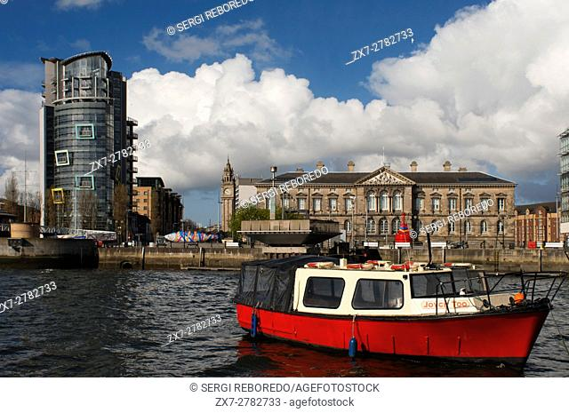 The Red Hulled Tourist Boat Mona Moored in The River Lagan in Belfast Northern Ireland United Kingdom UK. The Lagan Boat Company run two different tours